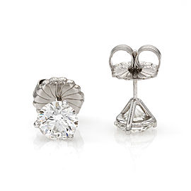 3.03ctw 18kw Round Brilliant Diamond Stud Earrings