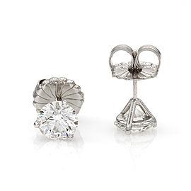 3.03ctw 18kw Round Brilliant Diamond Stud Earrings