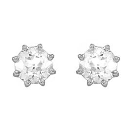 European Cut Diamond Stud Earrings in 14K White Gold