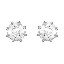 European Cut Diamond Stud Earrings in 14K White Gold