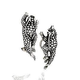 Kesiselstein Cord Horny Toad Earrings in Silver