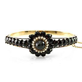 Vintage Garnet & Seed Pearl Bangle Bracelet in 14K Yellow Gold