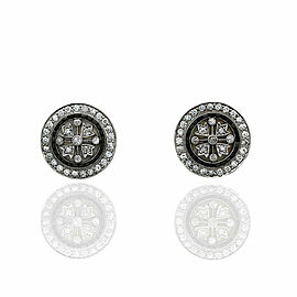 Diamond Pave Earrings with Jasper Accent in Platinum