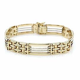 Mens Rectangular Link Bracelet in Gold