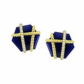 David Yurman Cable Wrap Lapis & Pave Diamond Earrings in 18K Yellow Gold