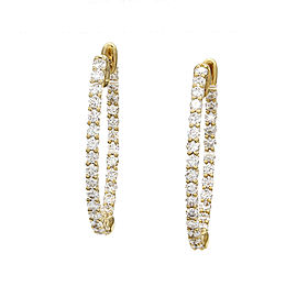 Diamond Inside-Outside Oval Hoop Gold Earrings