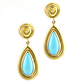 Lika Behar Turquoise and Diamond Earrings in Gold