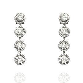 18kw Round Brilliant Halo Diamond Drop Earrings