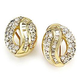 Pave Diamond & Baguette Channel Open Oval Button Earrings in 14K Yellow Gold