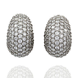 "Platinum Pave Diamond Curved ""Huggie"" Earrings"