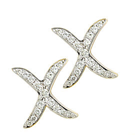 Pave Diamond 'X' Earrings with Milgrain Details in 18K Yellow Gold