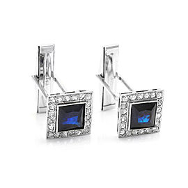 Blue Sapphire and Diamond Cufflinks in Gold