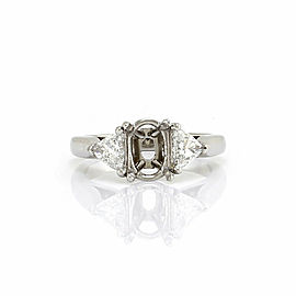 Oval Diamond Bridal Engagement Ring Mounting with Trillion Diamonds in Platinum