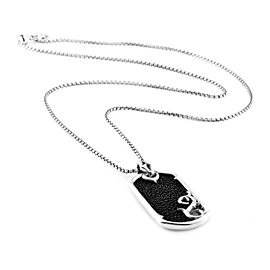 Stephen Webster Rayskin Black Dog Tag Pendant in Sterling Silver w/ Box Chain