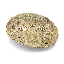 Large Solid 10k Gold & Sapphire Hand Engraved Western Champion Belt Buckle