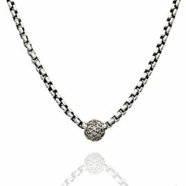 David Yurman Diamond Box Chain Necklace in Silver