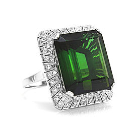 Green Tourmaline and Diamond Halo Ring in Gold and Palladium