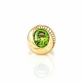 Peridot and Diamond Knot Ring in Gold