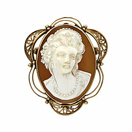 Womans Portrait Oval Cameo Brooch Pendant in Gold
