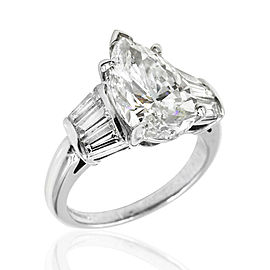 Platinum Diamond Engagement Ring with Tapered Baguettes and Pear Center
