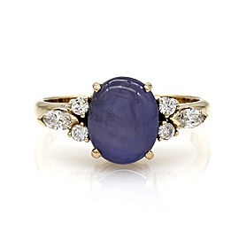 Star Sapphire and Diamond Ring in Gold