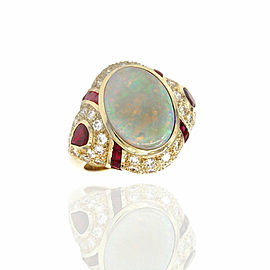 Opal, Ruby and Diamond Ring in Gold