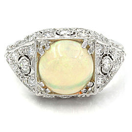 Vintage Opal and Diamond Ring in Platinum