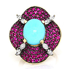 Pink Sapph, Turq, Diamond Ring in Gold