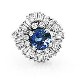 Vintage Cushion Cut Blue Sapphire in Diamond Halo Ballerina Ring 18K White Gold