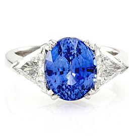 5.38ct Ceylon Sapphire and Diamond Ring in Platinum