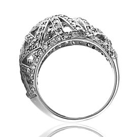 Pave Diamond Bombe Ring in 14K White Gold