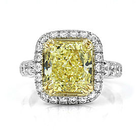 5.13ct VVS2 GIA Certified Fancy Yellow Diamond Ring in Platinum & 18KY Gold