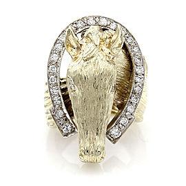 Diamond Horse Head Ring in Gold