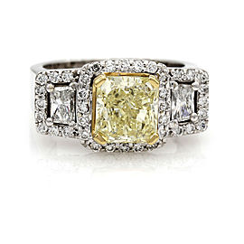 2.18ct GIA Certified Radiant Cut Fancy Yellow Diamond Ring in 18K White Gold