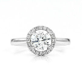 0.89ct GIA Certified Round Diamond Engagement Ring in 18K White Gold