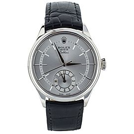 Rolex Cellini Dual Time 39mm White Gold Alligator Strap 50529