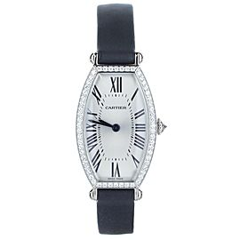 Cartier Tonneau White Gold Diamond Bezel Deployant 32x21mm