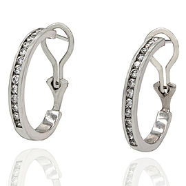 Diamond Hoop Earrings in Platinum