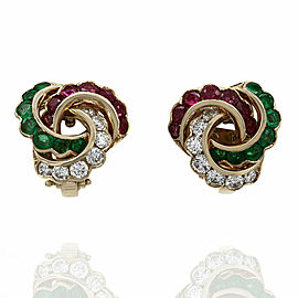 Ruby, Emerald and Diamond Earrings in Gold