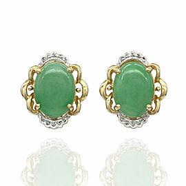 Jade and Diamond Earrings in Gold