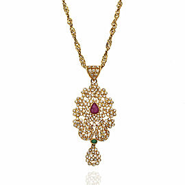Ruby, Emerald and Diamond Cluster Necklace in Gold