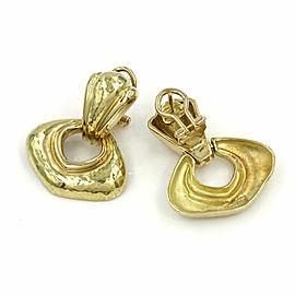 Lightly Hammered Gold Doorknocker Earrings