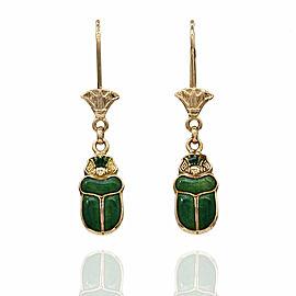 Green Enamel Scarab Earrings in Gold
