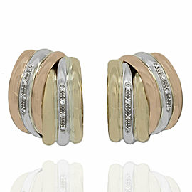 Diamond Half Hoop Earrings in Gold