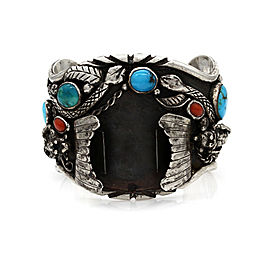 Huge DAVID TUCKER Navajo Silver Turquosie Coral Kachina Watch Cuff Bracelet