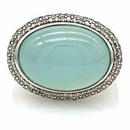 David Yurman Chalcedony and Diamond Ring in Sterling Silver