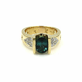 Green Tourmaline and Diamond Ring in Gold