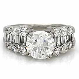 Three Row Diamond Ring in Platinum