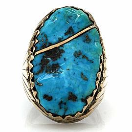 Zuni Robert & Bernice Leekya Sterling Silver & 14k Yellow Gold Turquoise Ring
