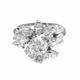 Platinum Marquise Diamond Fashion Ring with Round Diamond Center